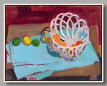 "CERAMIC BASKET WITH FRUIT #2   2000   oil/board   14¾""x19"""