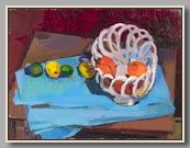"CERAMIC BASKET WITH FRUIT #3   2000   oil/board   16½""x22"""