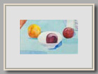 "PLUMS, PEACH AND CHINESE BOWL   2005   watercolor   7""x11½"""