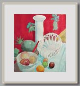 "STILL LIFE WITH VASE AND FRUIT   2002   watercolor   16""x14½"""