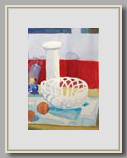 "TULIP VASE, CERAMIC BASKET AND ORANGES   2004   watercolor   14¼""x10"""