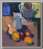 "VASE, JUG, APPLES AND ORANGES   2001-07   oil/board   20""x17½"""